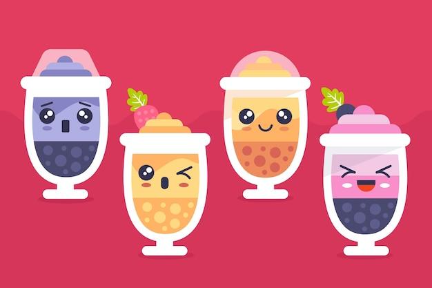 Коллекция пузырькового чая kawaii