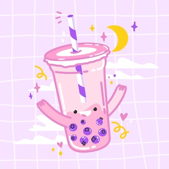 Kawaii bubble tea illustrazione