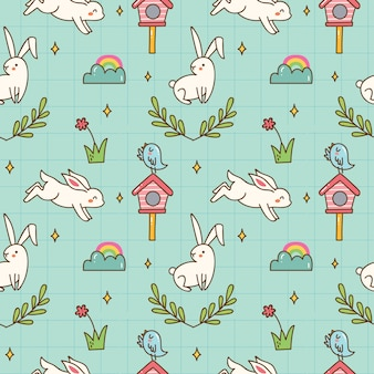 Kawaii bunny seamless background