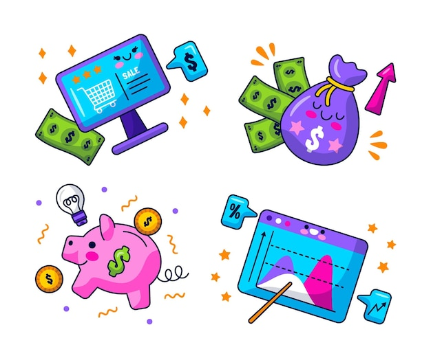 Kawaii business stickers collection