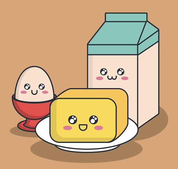 Kawaii butter egg and milk box icon