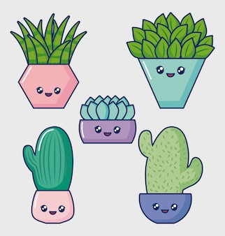 Set di icone di cactus kawaii