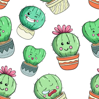 Kawaii cactus in seamless pattern with funny face