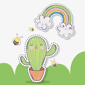 Kawaii cactus with bees and clouds with rainbow
