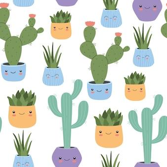 웃는 얼굴이 매끄러운 패턴을 가진 카와이 선인장, 귀여운 멕시코 열대 가정 식물. 섬유, 포장지 및 직물을 위한 세련된 플랫 만화 스타일의 유치한 손으로 그린 벡터 삽화