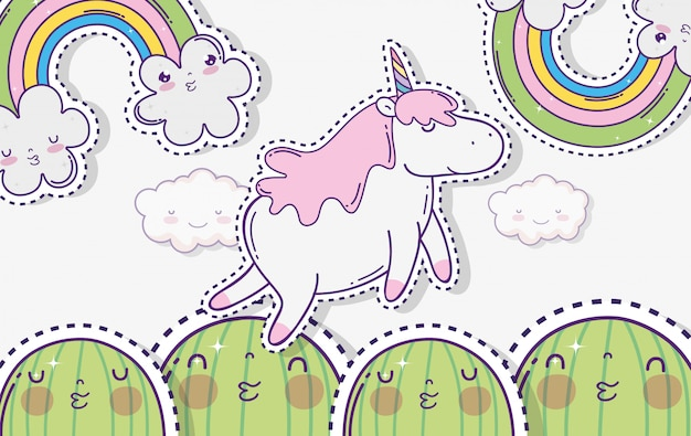 Kawaii cactus with unicorn and clouds with rainbow