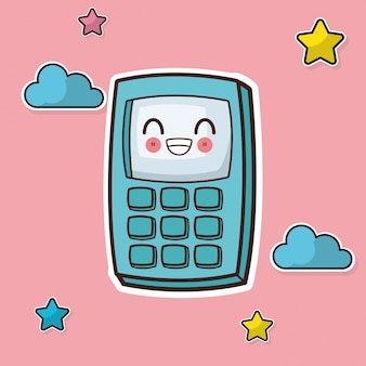 Kawaii calculator cloud star background