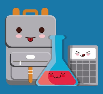 Kawaii calculator, flask bottle and backpack