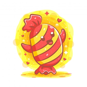 Kawaii candies с выражением лица Premium векторы