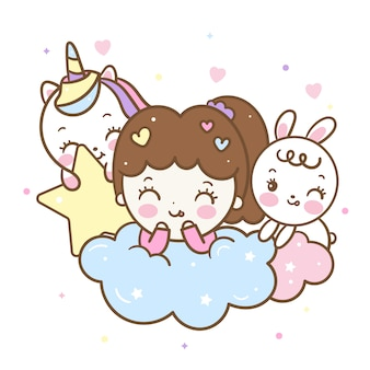 Kawaii cartoon baby girl and friends