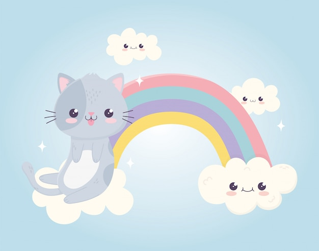 Kawaii cartoon cute cat with tongue out in rainbow clouds