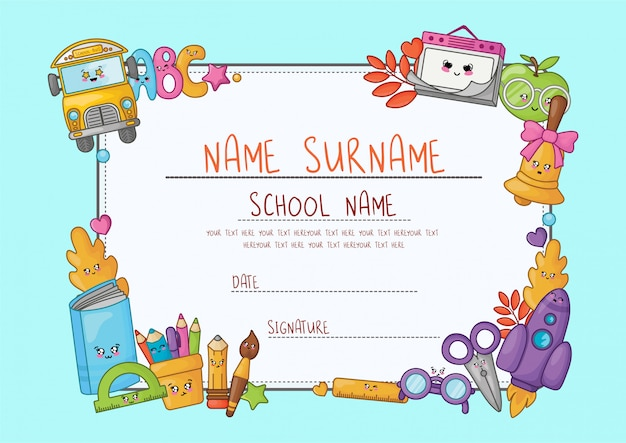 Kawaii cartoon diploma for elementary school.