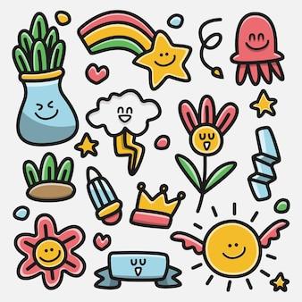 Каваи мультфильм каракули дизайн иллюстрация