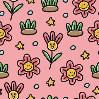 Kawaii cartoon doodle flower pattern  illustration