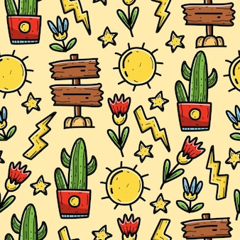 Kawaii cartoon doodle seamless pattern design wallpaper