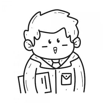 Kawaii cartoon doodle  template