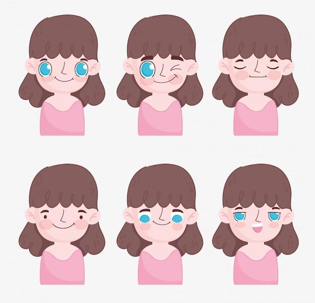 Kawaii cartoon faces cute brunette little girl