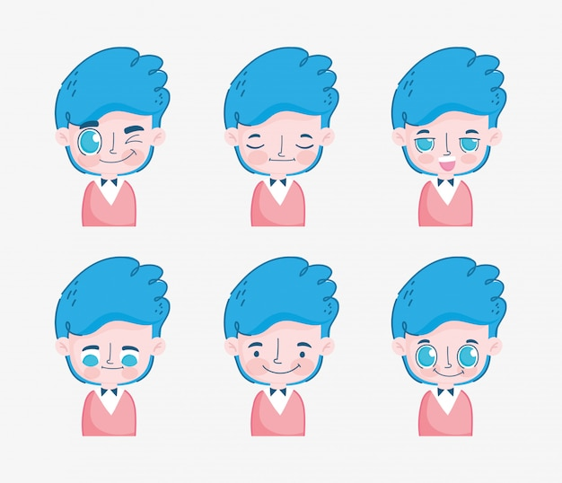 Kawaii cartoon faces cute young boy with blue hair  illustration
