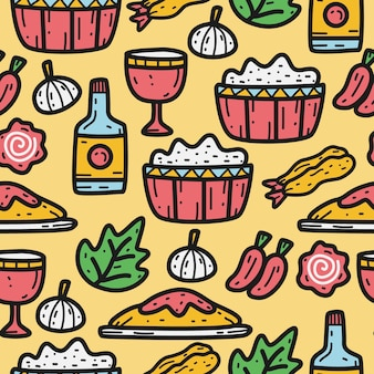 Каваи мультфильм еда каракули шаблон дизайна иллюстрация