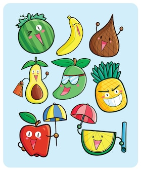 여름 컬렉션을 축하하는 귀여운 만화 과일