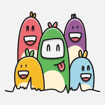 カワイイ漫画モンスター落書きデザインイラスト