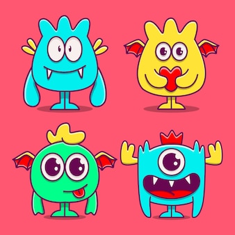 Kawaii 만화 괴물 낙서 디자인 일러스트 레이션