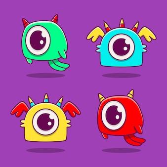 귀여운 만화 괴물 낙서 디자인