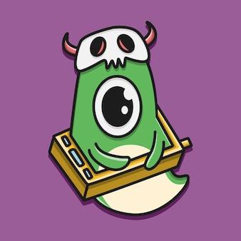 귀여운 만화 괴물 낙서 그림