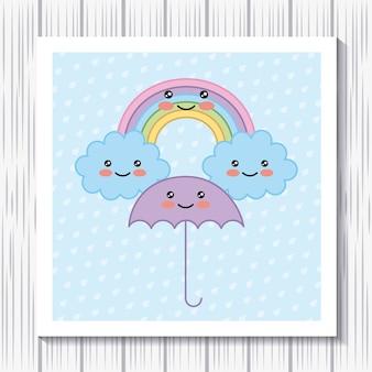 Kawaii cartoon rainbow umbrella clouds dots background