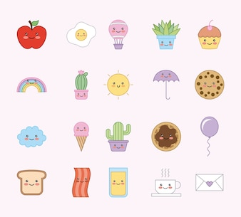 Kawaii cartoon set animals food decoration pattern