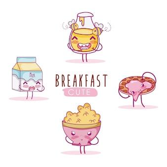 Симпатичные ингредиенты для завтрака kawaii cartoon