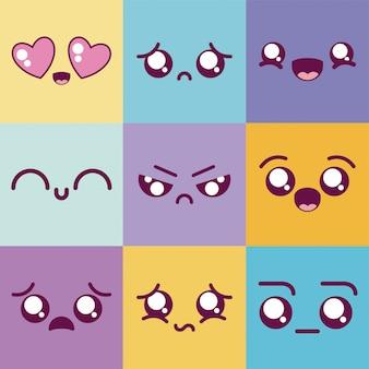 Kawaii cartoons multicolored emoticon set vector design