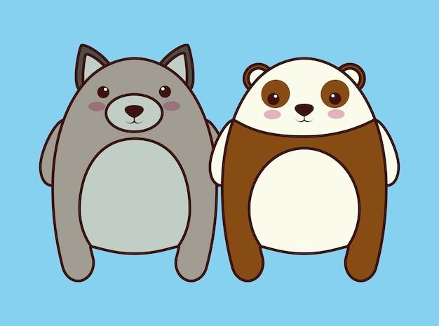 Кавати кошка и значок медведя