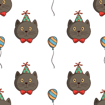 Kawaii cat birthday party with balloon in seamless pattern with colored doodle style on white background