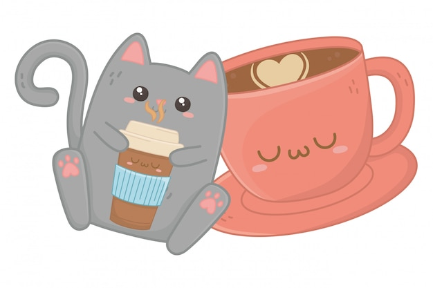 Kawaii of cat cartoon
