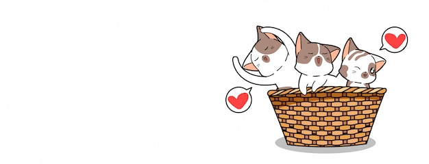 Kawaii cat characters inside basket