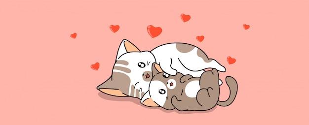 Kawaii cat couple hugging with love