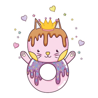 Kawaii cat donut with hearts and sars