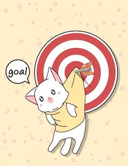 Kawaii cat and goal with arrow