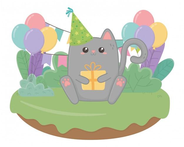Kawaii cat and happy birthday