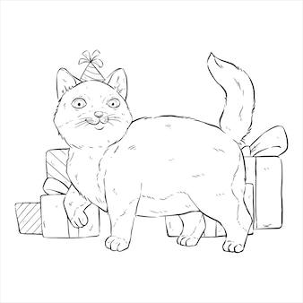 손으로 그리는 또는 스케치 스타일로 생일 파티에 귀여운 고양이