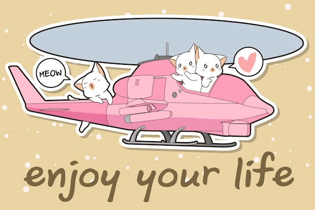Kawaii cat is driving a helicopter with friends