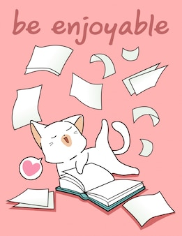 Kawaii cat is having fun with a book