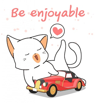Kawaii cat loves vintage car