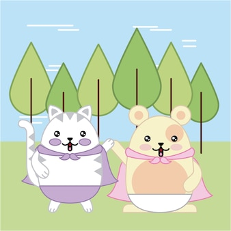 Kawaii cat and mouse in forest animal cartoon