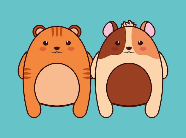 Kawaii cat and mouse icon