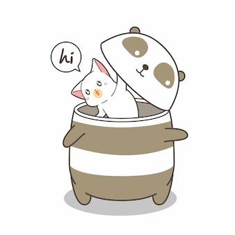Kawaii cat in the panda robot