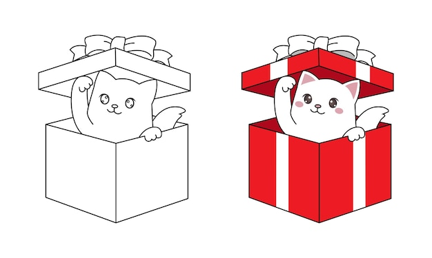 Каваи кот выглядывает из подарочной коробки для рождественского подарка. рисованной линии искусства для детей окраски страницы.