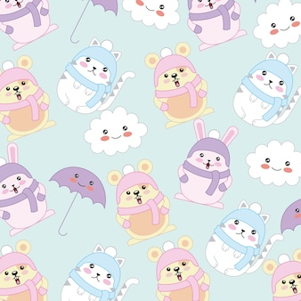 Kawaii cat rabbit mouse wear winter clothes background