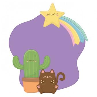 Kawaii of cat with cactus cartoon